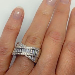 Wide Band Baguette and Round Diamond Silver Ring